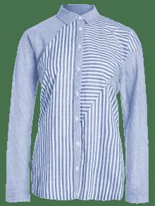243;n Azul Camisa Bot Larga La Rayada L Encima De BxwnH4