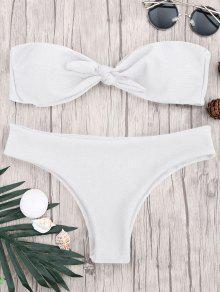 Padded Knotted Bandeau Bikini Set - White S