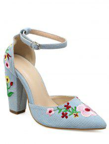 Buy Embroidery Block Heel Two Piece Pumps - LIGHT BLUE 40
