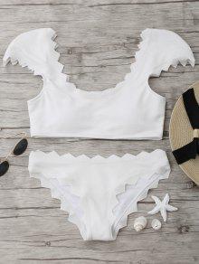 Textured Conjunto De Bikini Festoneado - Blanco S