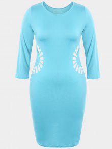 Plus Size Cutout Bodycon Dress - Lake Blue 2xl