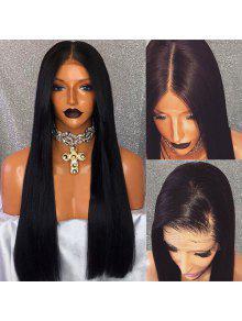جزء طويل طويل مستقيم الرباط الجبهة شعر مستعار الإنسان - أسود