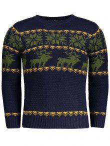 Crew Neck Jacquard Sweater - Purplish Blue L
