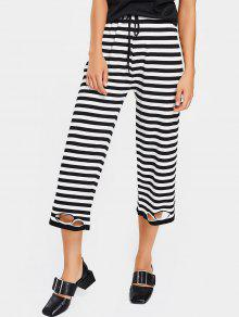 High Waist Ripped Striped Pants - Stripe