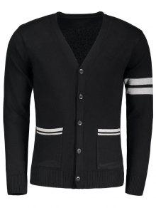 V Neck Button Up Cardigan - Black M