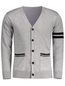 V Neck Button Up Cardigan - Gray L