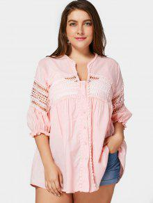Crochet Panel Plus Size Laser Cut Blouse - Pink 3xl