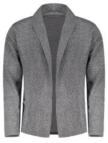Shawl Collar Open Front Cardigan - Feather Gray M