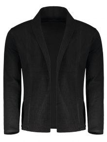 Shawl Collar Open Front Cardigan - Black M