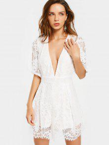 Plunging Neck Self Tie Lace Romper - White M