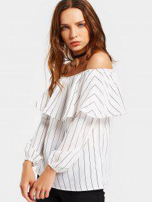 Blusa Decotado Do Folho Com Listra - Branco Xl
