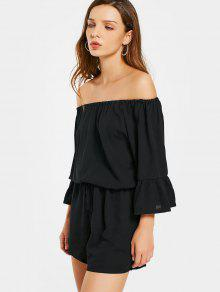 Off The Shoulder Flare Sleeve Romper - Black