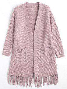 Fringe Cable Knit Cardigan - Pink