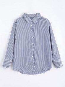 Loose Button Down Stripes Shirt - Stripe S