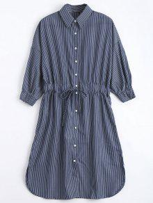 Button Down Belted Stripes Shirt Dress - Stripe M