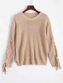 Buy Loose Lace Side Slit Sweater - KHAKI ONE SIZE