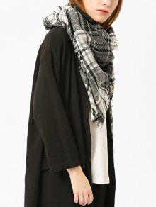 Fringed Brim Plaid Shawl Scarf - Black