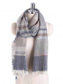 Fringed Brim Plaid Cotton Blended Scarf - Gray