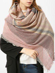 Fringed Brim Plaid Cotton Blended Scarf - Light Pink
