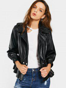 Snap Buttons Faux Leather Jacket - Black Xl