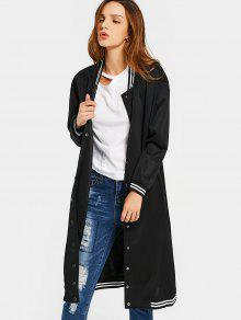 Snap Button Pockets Striped Long Coat - Black