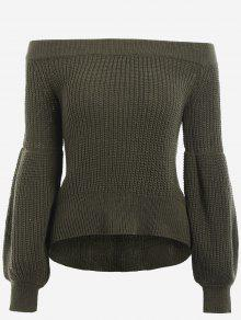 Lantern Sleeve Off The Shoulder Sweater - Army Green