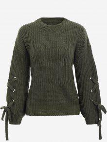 Drop Shoulder Lace Up Sweater - Army Green