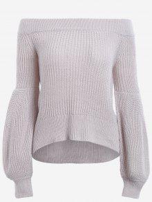 Lantern Sleeve Off The Shoulder Sweater - Light Grey