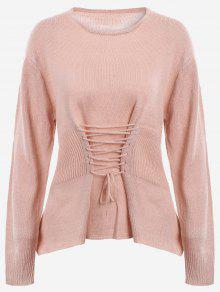 Lace Up Long Sleeve Sweater - Nude Pink
