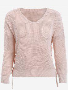V Neck Side Lace Up Sweater - Nude Pink