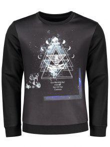 Crew Neck Space Print Sweatshirt - Black M