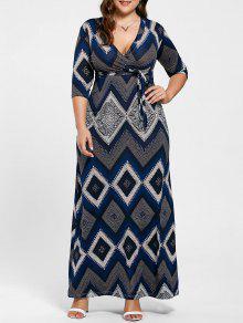 V فستان طباعة هندسية طويل الحجم الكبير الرقبة - الأرجواني الأزرق 4xl