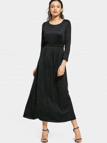 Round Collar Long Sleeve Maxi Dress - Black S