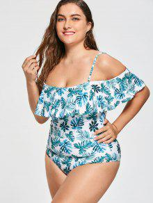 Plus Size Ruffle Leaf Print One Piece Swimsuit - 2xl