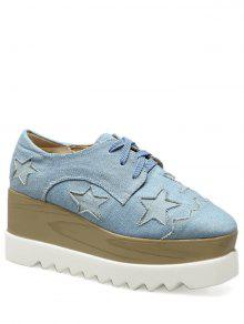 Denim Tie Up Star Pattern Wedge Shoes - Light Blue 37