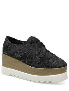 Denim Tie Up Star Pattern Wedge Shoes - Black 37