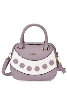 Textured Leather Color Block Handbag - Purple