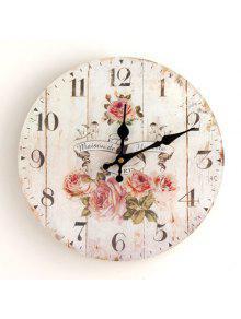 زهرة الخشب جولة التناظرية ساعة الحائط - أبيض 30 * 30cm
