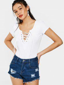 Plunging Neck Lace Up High Cut Bodysuit - White M