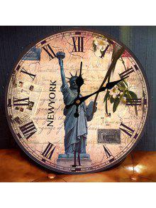تمثال، بسبب، الحرية، الجولة، أنالوغ، برميل، سور، كلوك - العتيقة براون 30 * 30cm