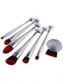 7Pcs Plated Ocean Shell Design Makeup Brushes Set - Silver