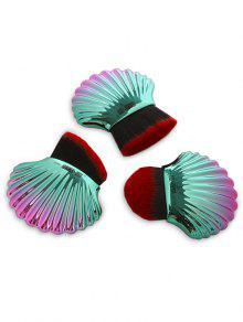 3Pcs Diseño Del Océano De Diseño De Cepillos De Maquillaje De Uso Múltiple - Rojo & Verde