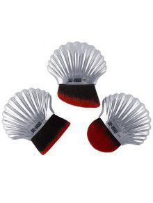 3Pcs Ocean Shell Design Multipurpose Makeup Brushes Set - Silver