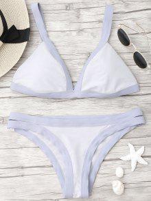 Zwei Farben Bikini Mit Einem Band Und Tiefem Ausscnitt - Lila L