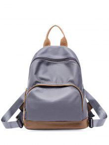 Nylon Color Block Zippers Backpack - Gray