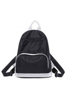 حقيبة الظهر كتلة اللون نايلون بسحاب - أسود