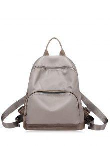 حقيبة الظهر كتلة اللون نايلون بسحاب - كاكي