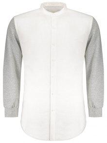 Buttons Heathered Sleeve Panel Shirt - White M