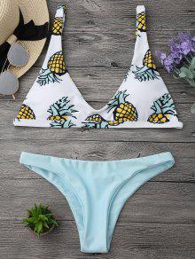 High Cut Pineapple Print Bikini Set - Light Green M