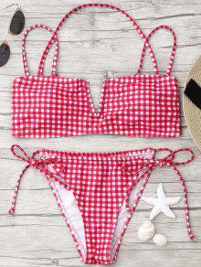Self-tie Checked Bikini Set - Red S